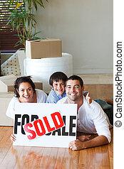 家, 床, 後で, 購入, copy-space, 家族