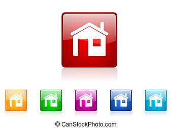 家, 廣場, 网, 有光澤, 圖象, 鮮艷, 集合