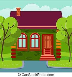 家, 建物, 暮らし, 村, ファサド, 外面