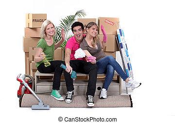 家, 引っ越し, 若い人々