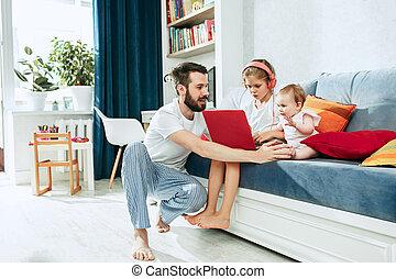 家, 彼の, 父, 娘