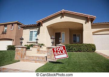 家, 待售簽名, 以及, 新的房子