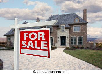家, 待售簽名, &, 新的房子