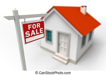 家, 待售, 房地產, 紅色, 簽署