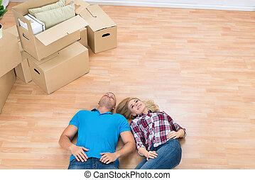 家, 恋人, あること, 新しい, 床