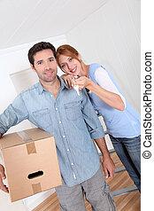 家, 恋人, 幸せ, 購入, 新しい