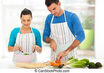 家, 恋人, 料理, 若い