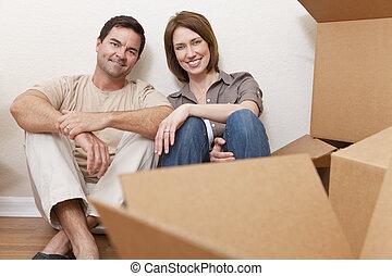 家, 恋人, 箱, パッキング, 引っ越し, 荷を解くこと, ∥あるいは∥, 幸せ
