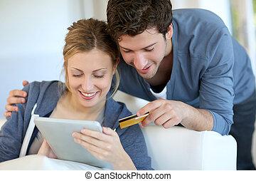 家, 恋人, 若い, 購入, インターネット