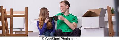家, 恋人, 飲むこと, 新しい, お茶