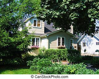 家, 房子, 窗口, 前面, 花, 花園