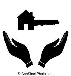 家, 手, 关键的图标