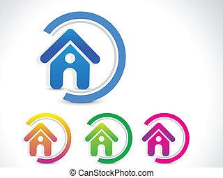 家, 抽象的, ベクトル, ボタン, アイコン