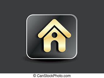 家, 抽象的, ボタン