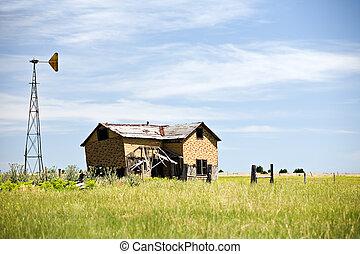 家, 捨てられた, アメリカ, 田園