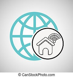 家, 接続, concetp, 地球, wifi