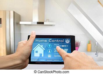 家, 控制, 设备, 牌子