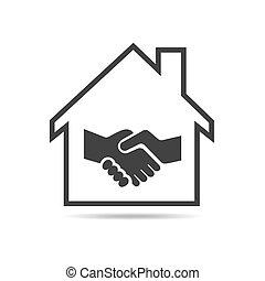 家, 握手, ベクトル, illustration., icon.