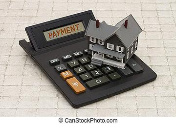 家, 支払い, 背景, 石, 灰色, 家, 抵当, 計算機