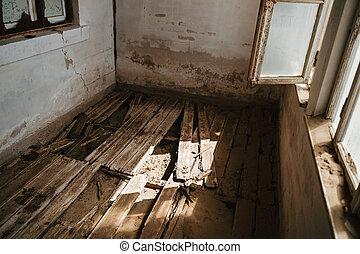 家, 改修する, 木製である, 写真, 台無しにされる, 概念, 家, 平面図, 破壊された