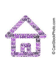 家, 整理, グラフィック, テキスト, シンボル, 概念, セール