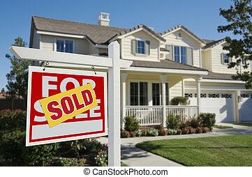 家, 新しい, サインを売った