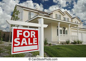 家, 新しい, 印, セール, &