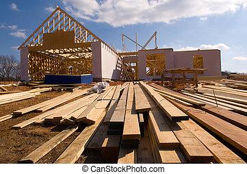 家, 新しい, 建設, 下に