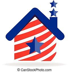 家, 旗, アメリカ, ロゴ