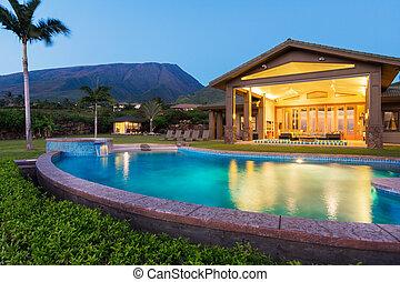 家, 日没, 贅沢, プール, 水泳