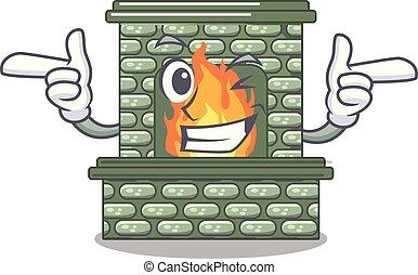 家, 暖炉, 漫画, ウインク