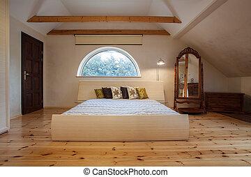 家, -, 曇り, 寝室