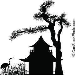 家, 木, アジア人, 松, 下に