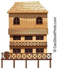 家, 木, 作られた, 3, 階
