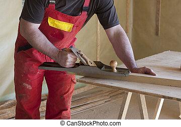 家, 木, 大工, プレーナー, 仕事