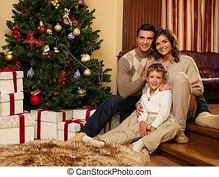家, 木, 幸せな クリスマス, 家族, 内部