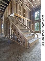 家, 木, 枠組み, 階段