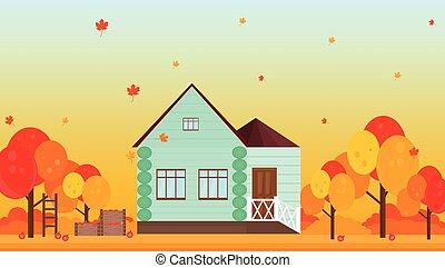 家, 村, 秋, ベクトル, 背景, 季節, イラスト