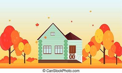 家, 村, 秋, ベクトル, 背景, 季節