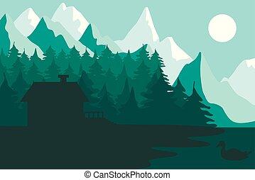 家, 森林, 山