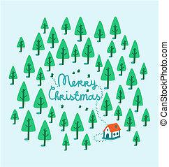 家, 森, クリスマス, イラスト