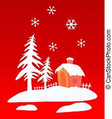 家, 森, 雪, クリスマス, 代表