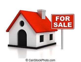 家, 概念, セール, イラスト