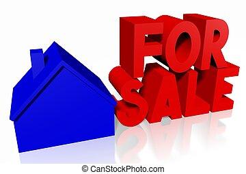 家, 概念, セール, 3d