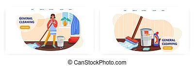 家, 概念, 地板, 房子, 矢量, 清洁, 站点, illustration., 提供, 打扫, home., detergent., 样板, 妇女, 水桶, 扫荡, 服务, 设计, 网