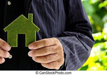 家, 概念, 緑, アイコン