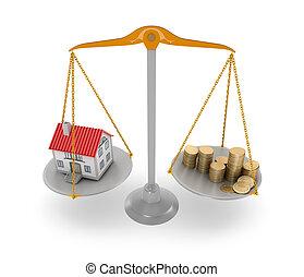 家, 概念, price., 3d