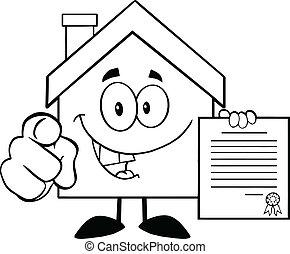 家, 概説された, 保有物の 契約