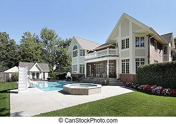 家, 水泳, 後部, プール, 光景