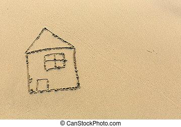 家, 浜, 引かれる, sand.